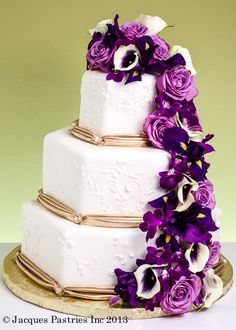 purple and gold wedding cake. LOVE these flowers for bouquets