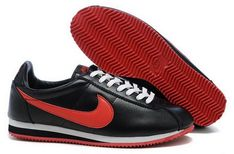 Supply Cheap  Nike Classic Cortez Nylon Womens Shoes Black Red Fur Online Discount