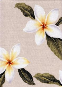 Plumeria Natural Tropical Botanical Vintage Hawaiian Fabric Hawaiian Plumeria Frangipani Flowers on a cotton Upholstery Fabric.