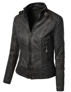 Save $22.00 on LE3NO Womens Faux Leather Quilted Zip Up Moto Biker Jacket with Stitching Detail; only $29.99