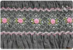 Smocking and bullion rose embroidery on a long-sleeved dress ~ Smocking Baby, Smocking Plates, Smocking Patterns, Sewing Patterns, Rose Embroidery, Embroidery Stitches, Embroidery Patterns, Punto Smok, Smocked Baby Dresses