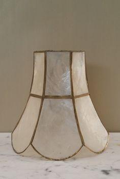 Capiz shell lampshade small shell lamp shade small mid century capiz shell clip on lampshade 12 aloadofball Gallery