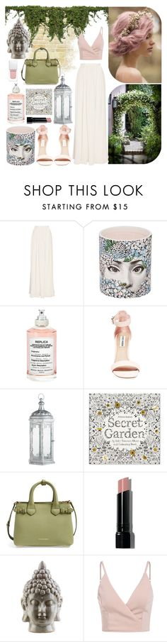 """The Secret Garden"" by vigilexi ❤ liked on Polyvore featuring Jenny Packham, Fornasetti, Maison Margiela, Steve Madden, Pier 1 Imports, Burberry, Bobbi Brown Cosmetics, Dot & Bo and Givenchy"