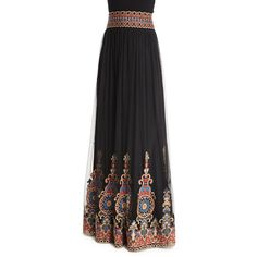 Alice + Olivia Savanna Embroidered Tulle Maxi Skirt ($600) ❤ liked on Polyvore featuring skirts, black, floor length skirt, tulle skirt, long skirts, tulle maxi skirt and long black a line skirt