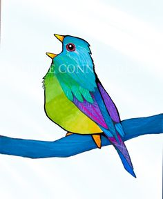 Singing Bird Colorful Song Print or Cards by BrookeConnorDesign