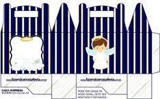 Caixa Lembrancinha Batizado Menino Azul Marinho e Branco