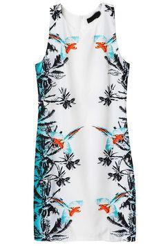 Blue White Sleeveless Floral Birds Print Dress GBP£17.25