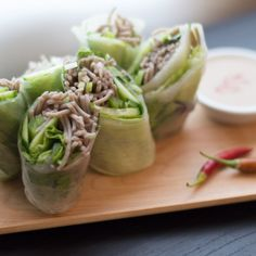 Soba Spring Rolls with Sesame Lime Dipping Sauce