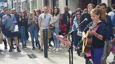 This talented young girl busks close to my workplace regularly in Dublin Ireland