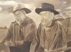 """Another work I did of a scene from """"Fort Apache"""" (1948). I gave my brown Prisma pencils a workout to render the drawing in sepia tone."""
