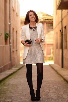 Grey dress, white blazer, black leggings, black high heel ankle boots, silver jewel necklace (2/22/18 - Work)