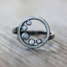 White Sapphire Cresent Moon Ring, Recycled Sterling and Lunar Eclipse Ring