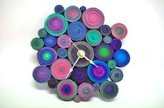 SALE Circles Wall Clock Polymer Clay by ClaydeLys1 on Etsy