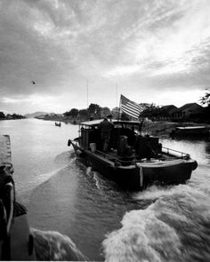 U.S. Naval Forces in Vietnam Swift boat 50-foot aluminum-hulled fast patrol craft on Cua Lon River. Circa Nov 1969.