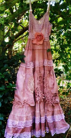 Prairie wedding dress tea stained cotton rustic crochet shabby bride  rose  vintage  romantic  medium  by vintage opulence on Etsy. $150.00, via Etsy.