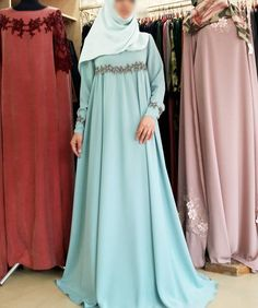 No photo description available. Batik Fashion, Abaya Fashion, Skirt Fashion, Fashion Dresses, Muslimah Wedding Dress, Hijab Style Dress, Hijab Evening Dress, Moslem Fashion, Modele Hijab