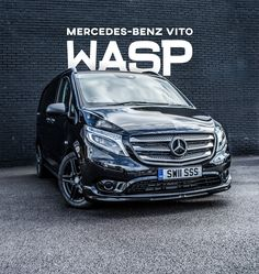 Vito Crew Van 116 SPORT WASP New For 2017 The New 2017 Mercedes Vito Crew Van SPORT WASP*. The Wheels And Styling Package (WASP**) allows you to style the Vito to your budget and taste. Based on the Mercedes VITO SPORT Wheelbase, engines, gearboxes, these higher spec vans cost less than they look! Mercedes Benz Viano, Mercedes Van, Mercedes G Wagon, Luxury Van, Converted Vans, Custom Vans, Commercial Vehicle, Car Wrap, Wasp