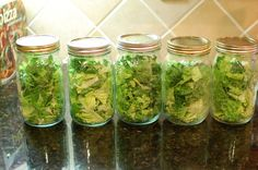Storing salad in mason jars using a Foodsaver.