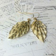 Literary Leaves Origami Leaf Earrings by STCHandmade on Etsy