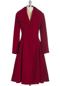 Intrigue All About it Coat in Crimson. Extra! #red #modcloth