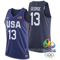 Paul George USA Dream Twelve Team  13 2016 Rio Olympics Navy Jersey 64d97ca21