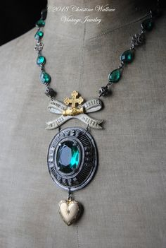This necklace is designed around the stunning antique French souvenir brooch from the Diocese of Namur celebrating a pilgrimage made to the historical French city of Lourdes. This is such a sweet little piece of French religious history that I made it the centerpiece of this necklace