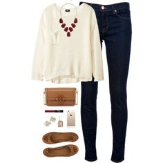 burgundy accents by classically-preppy on Polyvore featuring H&M, J Brand, Tory Burch, NARS Cosmetics, Essie and Kate Spade