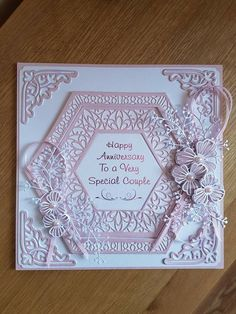 Wedding Anniversary Cards, Wedding Cards, Hexagon Cards, Tonic Cards, Embossed Cards, Friendship Cards, Handmade Birthday Cards, Cool Cards, Flower Cards