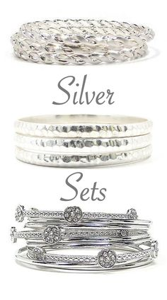 Our cool Silver Bangle Bracelet Sets make fabulous gifts and suit any look, day or night. Silver Bangle Bracelets, Bracelet Set, Bangles, Fashion Jewelry, Wedding Rings, Suit, Engagement Rings, Jewels, Bar
