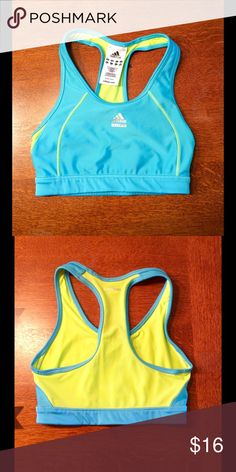 adidas techfit sports bra.  Adidas techfit sports bra in teal and yellow.  Size small.  Racer back, mesh insert on back and climacool fabric technology.  Across chest measures 12 1/2 inches and across bottom measures 10 1/2 inches.  Bra has been worn 1-2 times but is in excellent condition.  91% polyester and 9% spandex. adidas Intimates & Sleepwear Bras