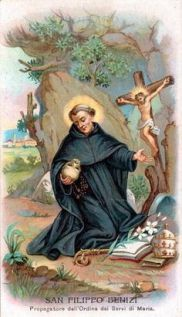 Saint of the Day – 23 August – St Philip Benezi – Servite Priest Confessor, Reformer, Preacher, Medical Doctor –  (15 August (Feast of the Assumption and the day that the Blessed Virgin appeared to the first of the Founders of the Servite Order) 1233 at district of Oltrarno, Florence, Italy –  22 August (Octave of the Assumption i.e. the Feast of the Queenship of Mary) 1285 at Todi, Italy).   The Church of the Servites of ..