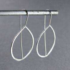 Teardrop Hoop Earrings Hammered Silver by bespokenjewelry on Etsy, $45.00