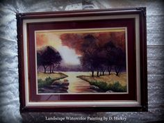 Landscape watercolor Painting of open field and meandering stream Framed original watercolor by D Hickey Rich color Serene country landscape by STUFFEZES on Etsy
