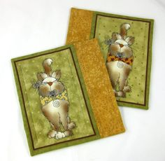 Cat Quilted Mug Rug Set  Mice Gold Green  $16