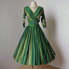 1950's PARKLANE Polished Cotton Dress