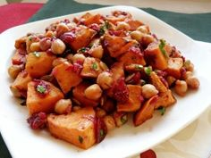 Plan to Eat - Roasted Sweet Potato & Chickpea Salad with Warm Cranberry Chutney Dressing - MarlaJ