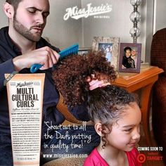 Father and daughter in a Miss Jessie's Multicultural Curls ad beautiful! !! All that beautiful hair!