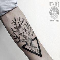WEBSTA @ md_mironenko - #tattoo #dotwork #blxckink #blacktattoo #dotworktattoo #tree #triangle #graphic #graphictattoo