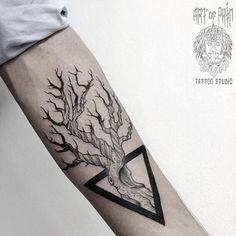 WEBSTA @ md_mironenko - #tattoo #dotwork #blxckink #blacktattoo #dotworktattoo #tree #triangle #graphic #graphictattoo