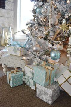 aqua blue, silver and white Christmas decor
