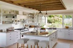 Barn house kitchen house tour of a magnificent beach barn house by architects and vineyard interior design vaulted ceilings exposed beams and ocean views Farm Kitchen Ideas, Small Farmhouse Kitchen, Modern Farmhouse Kitchens, Home Kitchens, Farmhouse Style, Rustic Kitchen, Kitchen Small, Barn Kitchen, Neutral Kitchen