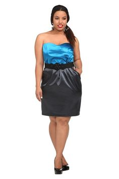Blue And Grey Satin Pocket Strapless Dress | Dresses