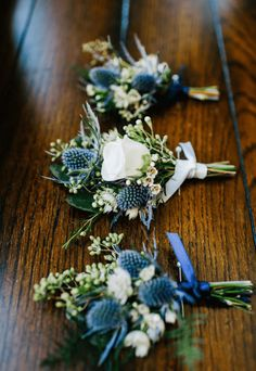 Floral Designer in Lancaster County, Pennsylvania. For these blue and white boutonnières for the groom and his groomsmen, we used blue eryngium thistle with white astrantia, seeded eucalyptus, plumosa Blue Wedding Flowers, Wedding Flower Arrangements, Floral Wedding, Wedding Colors, Wedding Bouquets, Wedding Buttonholes, Navy Blue Flowers, Blue Orchids, Wedding Ideas