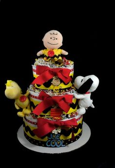 Peanuts Diaper Cake... this is awesome, but not for this baby shower... LOL