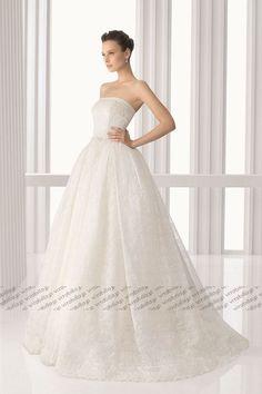 Aライン ウェディングドレス ビスチェ ブラシトレーン オフホワイト 021175037002