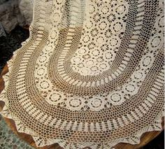 OVAL Handmade Crochet Tablecloth by TableclothShop on Etsy