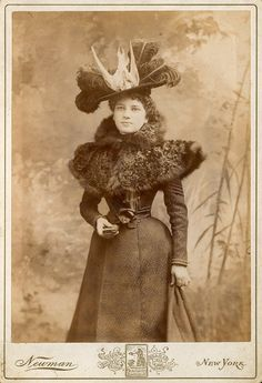 Newman Cabinet Card-Vintage Lady. Belle Epoque fashion. Coat and large brimmed hat with feather (even whole birds!) decoration.