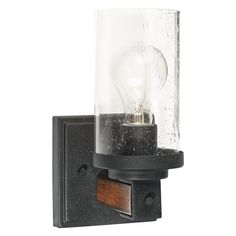 Kichler Lighting Barrington 4.49-in W 1-Light Distressed Black and Wood Arm Hardwired Wall Sconce  	Distressed black and wood finish in a casual design