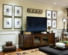 Tv In Gallery Wall Symmetrical Design. Great Idea For How To Decorate ...