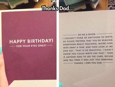 Birthday Card From Dad
